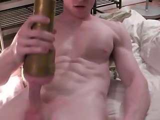 Fit lad uses a fleshlight to milk his young sack