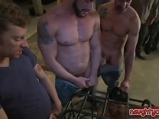 Horny stepfather rough doggy style gangbang
