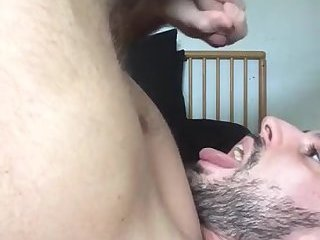 Cum slut drops a load into his own whore mouth