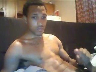 Hot black boy nuts all over himself