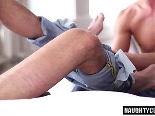 Big dick son flip flop and cumshot