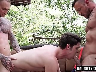 Tattoo gay domination with cumshot