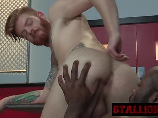 Tattooed stud gets filled by long black dong