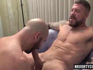 Huge dick gay oral sex and cumshot