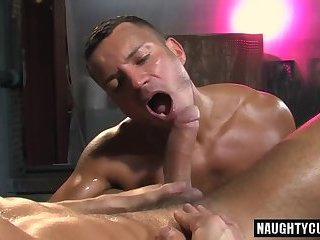 Tattooed latino guy barebacked hard in a threesome