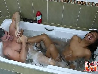 Mature perv Daddy enjoys taking bath with young stud Russel