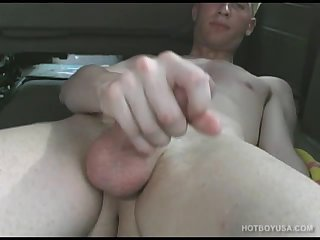 Blond Twink Stroking Outdoors