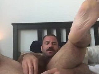 Beef dad working a toy into his hot hairy ass