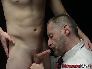 Kinky mormon tugs elder