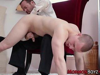 Mormon cums on uniform