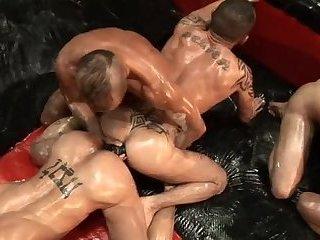 FIST poke orgy 8 HUNKS IN  FULL BODY CRISCO