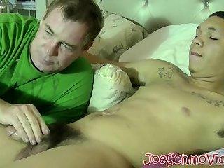 Straight thug Abel gets his big dick sucked until cumshot