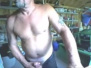 Mature stud jerking in his garage