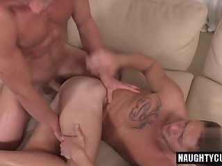 Tattoo gay anal sex and cum swap