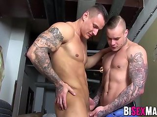 Blonde girl in bisex hot action with two bisex muscle men