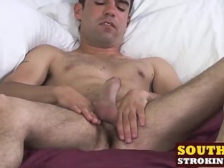 Horny mature guy Devin loves to wank it hard in bed