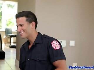Amateur stud fucked by handsome firefighter