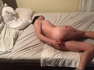 First time Twink fucking by dildo. Handsfree prostate orgasm