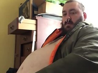 Huge belly chub beats his unclipped meat