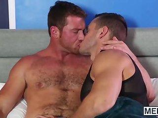 Big hard cock rammed deep in his anus makes him real happy