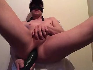 Twink fucking by a big dildo. Extreme painfully prostate orgasm