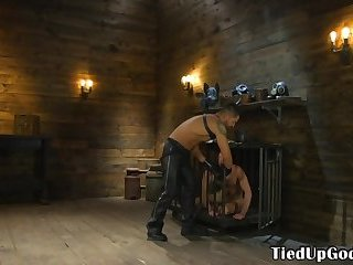 Submissive stud mouthfucked and tugged