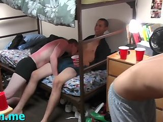 Nasty gay bitches play dirty oral games at a gay party