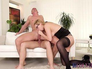 Bald bi dude rides cock