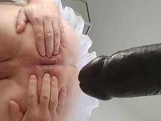 sissy kristen in a barbies world gaping ass with 12 inch black cock