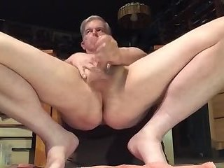 Older guy jerks off and fingers his mature fuck hole