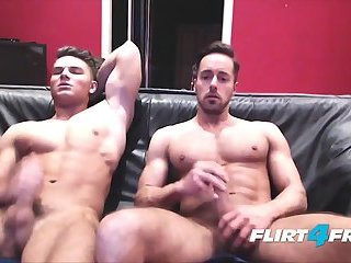 Two good Looking boyz Simultaneously jerk off Off And cum