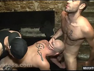 Tattoo gay threesome and facial