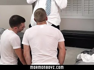 MormonBoyz - Blonde muscle daddy punishes two missionary boys