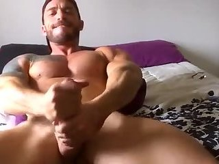 HOT guy needs two hands to jack his big cock