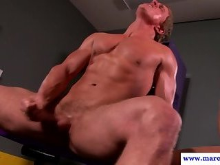 Deepthroating muscular jock gets fucked hard