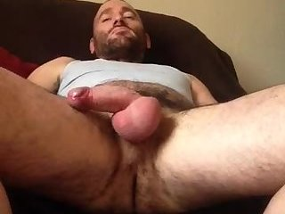Hot blue collar alpha jerks out a load