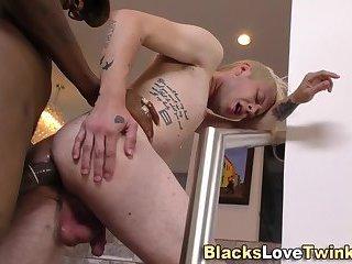 Ebony amateur fucks twink