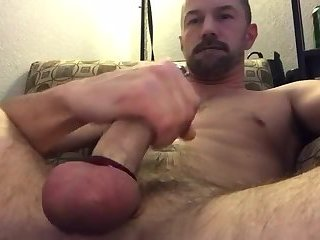 Nice closeup of me playing with my pierced cock