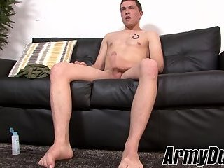 Cute soldier Poleski stroking and teasing his big cock