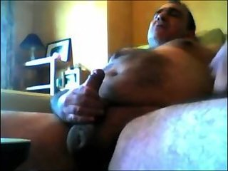 Hot dad with a big belly beating off