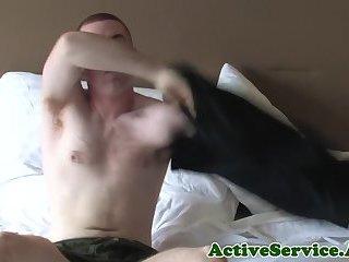 Amateur gay soldier masturbating solo
