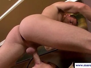 Deepthroating muscular hunks jerking dicks