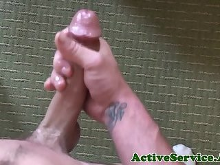Solo military stud jerking and stroking cock