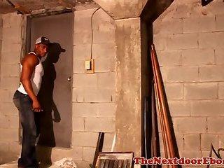 Ebony hunk wanking his cock in basement