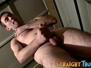 Tattooed straight dude stroking and cumming under the shower