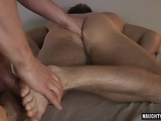 Large dick homosexual foot fetish with massage
