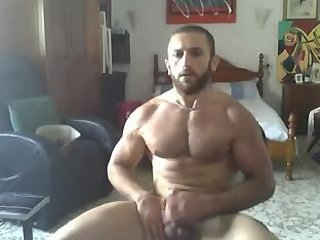 Hot muscle boy beating off