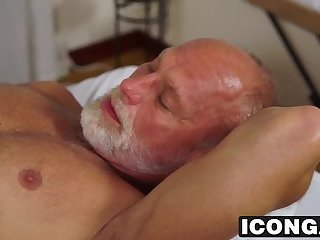 Muscular masseur sucks his former teachers big fat cock