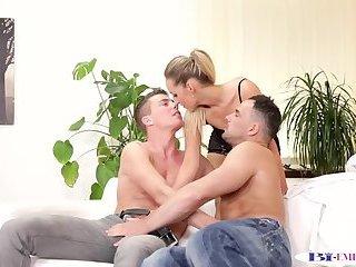 Assfucked bisexual stud wanks cum in mmf trio
