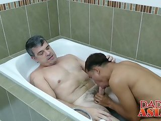 Daddy Mike sticks his fat dong up cute Asian twink Alex